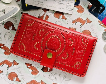 Leo Big Red Wallet Vintage Womens Wallet Genuine Leather Wallet Big Wallet  Zipper Coin Phone Cards Mandala Carved Tooled  Hollow Bifold