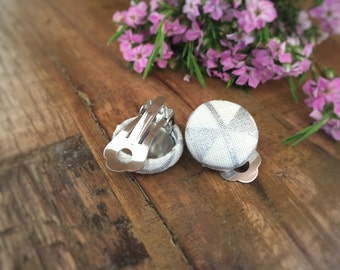Silver Earrings. Silver and White. Geometric Earrings. Handmade Earrings. Fabric Covered Button Earrings. Stud Earrings. Clip On Earrings.