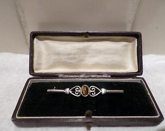 Lovely Vintage Art Deco Silver Brooch with Scottish Stone in Original Box