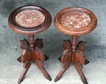 Antique marble top tables, Victorian Table, Ram Head feet, Round marble plant stand,  Mahogany Wood, Circa 1900 to 1909