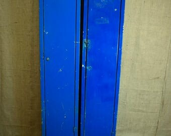 2 vintage industrial upright lockers, bright blue would make great storage cupboards