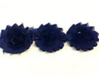 "Navy Gorgeous Shabby Frayed Chiffon Flower Rosettes 3 x 2.5"", hair bands, clips, crafts etc"