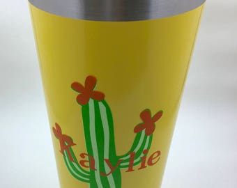 Monogrammed Cactus Tumbler, Yellow Cactus Tumbler, Thermal yellow Tumbler