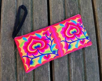 Embroidered Hmong wristlet, Thai purse, ethnic purse, boho purse, colourful purse, bohemian purse, tribal bag, coin purse, makeup bag