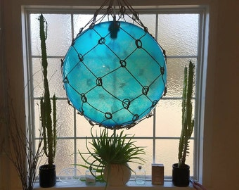 Large Nautical Light Pendant, Aqua Blue, Tiki, Fishermans Float, Rope Lamp, Beach Decor, Nautical Home Decor, Fishnet, Sea, Sailing