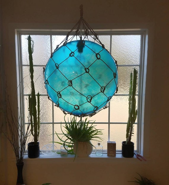 Blue Nautical String Lights : Large Nautical Light Pendant Aqua Blue Tiki Fishermans