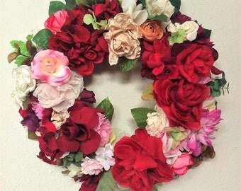 Red Rose Wreath-The ROMANCE IN BLOOM Wreath-Valentines Day Wreath-Spring Wreath-Winter Wreath-Rose Wreath-Large Wreath-Decorative Wreath