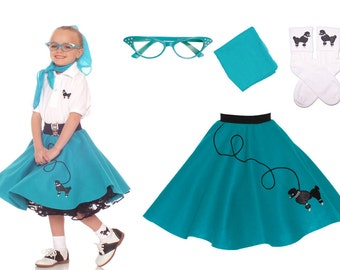 4 Pc MEDIUM Child 7 9 50s Poodle Skirt OUTFIT