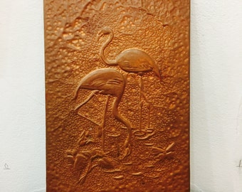 Sale - Vintage Copper wall art Flamingoes
