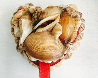 Vintage Seashell Heart Ring Box Valentines Day