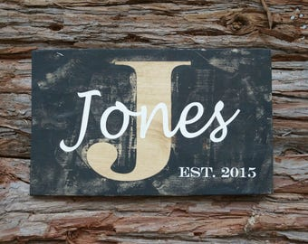 Last Name Sign | Family Name Sign | Wedding Gift | Wedding Established Sign | Monogram Sign | Family Established Sign | Housewarming Gift