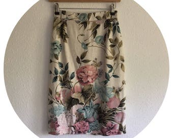 Vintage 80's Floral High Waisted Pencil Skirt Size UK 6/8 XS