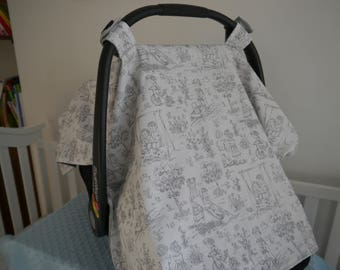 Toile Car Seat Cover, Minky Cover, Gray CarSeat Cover, Baby Gift
