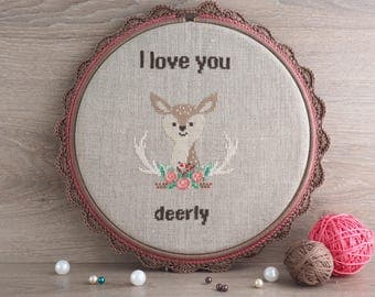 Gift cross stitch pattern Phrase cross stitch pattern Quotes cross stitch pattern Deer cross stitch pattern gift cross stitch gift for him