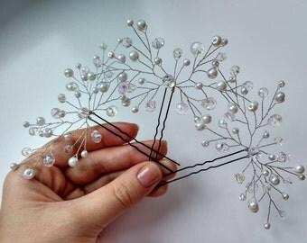 Spring hair pins, wedding hair pins, pearls hair pins, crystal hair pins