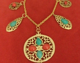 A Pretty Necklace with Coral and Turquoise Beads