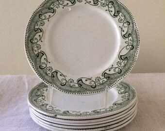Art Nouveau Creil et Montereau French Porcelain Plates, Set of 7