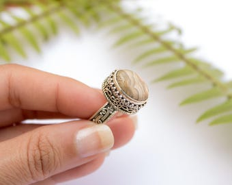 Crazy Lace Agate Ring - Sterling Silver Agate Ring - Crazy Lace Agate Jewelry, Size 6, Size 7, Size 8, Size 9, Southwestern, Boho, Handmade