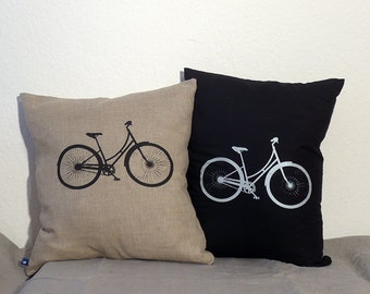 Screen Printed Bike Linen Pillow Cover, in Black, Natural or Burgundy - Fits a 50 by 50 cm Pillow (Not Included)