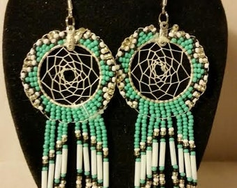 Turquoise and White Dream Catcher Earrings