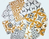 9 Sample Cotton Canvas Fabric for Craft - Golden Yellow and Grey - Geometric Fabric - Quilting Fabric - Craft Swatches - Swatches for craft