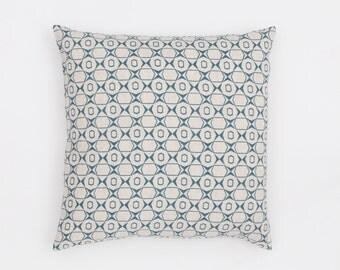 Petek Handscreen Printed Cushion Cover - Teal Blue 50x50cm