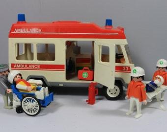 Vintage Geobra 1974 Playmobil toy ambulance set 3456 complete all original parts