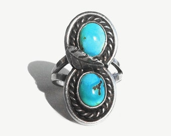 Pretty Statement Ring  • Vintage Native American + Dual Turquoise Rope Ring - 6.5