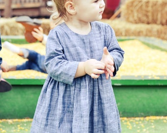 Chambray Dress, Toddler Dress, Girls Dress, Baby Dress, fall dress, vintage chambray, long sleeve, cap sleeve, vintage denim