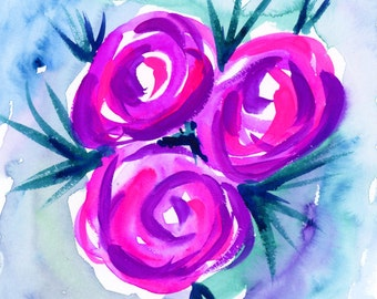 Pink/Purple Roses with Blue Spikes Original Watercolor