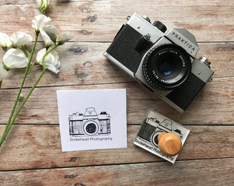 CAMERA STAMP, Photographers, Vintage Camera Stamp , and Business Name, wedding stamp, wedding photo, custom stamp