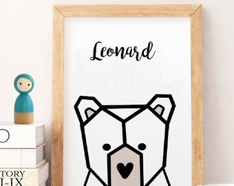 Baby name wall decor bear nursery wall art Gifts for baby boy Baby name art Custom baby gift Personalized baby gifts for boys animals poster