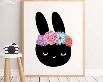 Bunny wall art 50% OFF, Girl nursery decor Rabbit nursery art Rabbit art print Animal painting fine print nursery art  Animal print nursery