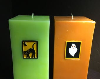 """Set of (2) heavy 6"""" Halloween tower candles green and orange ghost & cat"""