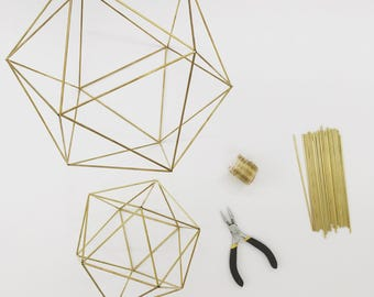 DIY Kit & Pattern: Geometric Icosahedron Himmeli - Wedding Centerpiece - Coffee Table Decor - Minimalist Orb Brass Sphere  - Airplant Mobile
