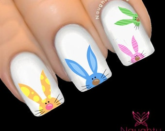CHEEKY BUNNY Easter Nail Water Transfer Decal Sticker Art Tattoo
