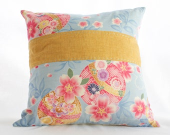 CONTEMPORARY Japanese Cotton Cushion with SASHIKO Hand-Stiching!