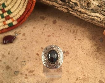 Vintage Navajk Obsidian and Sterling Silver Ring Size 6