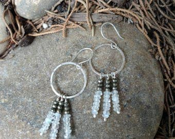Moonstone and Pyrite Handcrafted Sterling Silver Hoops