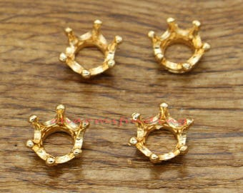 50pcs Crown Charms Gold Plated Tone 3D Miniature Crown Charms 9x9x6mm cf2364