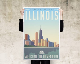 Chicago Illinois Travel Poster