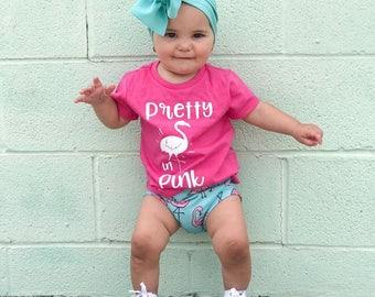 Pretty in pink shirt, flamingo shirt, flamingo shirt for kids, flamingo birthday shirt, flamingo outfit