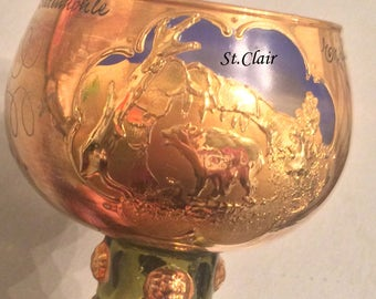 Vintage Wine Rummer,Wineglass, gilded,cut glass,rare, bear cave from Erpfingen