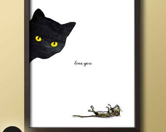 Peek a Boo Cat, Cat Lovers, Cat Art, Cat and Mouse, Animal Prints, Animal Art, Wall Art, Home Decor, Cat Eyes, Purfect, Meow, Cat Lady