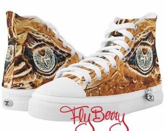Golden Dragon Eyes Sneaker Shoes - Fun Unisex Alligator Crocodile Eye Canvas Shoes - Alligator ZIPZ® High Top Sneakers - Crocodile Painting