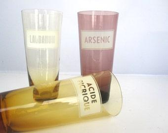 3 Verres Médicaux Arsenic, Laudanum, Acide Picrique- Année 50/ France