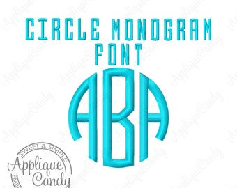 """Circle Monogram 3 Letter Embroidery Font - Left Middle Right Letters -  2 Sizes - 1"""" & 2"""" Machine Embroidery Font INSTANT DOWNLOAD"""