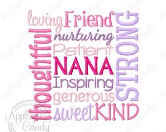 Nana Subway Art Machine Embroidery Design Digital File 4x4 5x5 6x6 7x7 8x8 Grandma Grandmother gma INSTANT DOWNLOAD