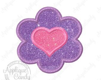 Flower Heart Bean Stitch Applique Machine Embroidery Design 3x3 4x4 5x5 6x6 INSTANT DOWNLOAD