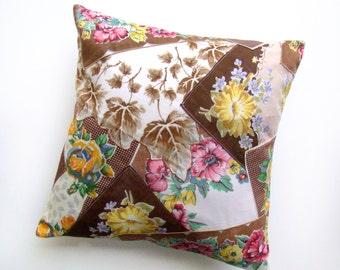 Crazy Quilt Pillow Cover, Brown Throw Pillow, Vintage Hankie Pillow, Handkerchief Pillow, Country Cottage Patchwork Pillow, Accent Pillow